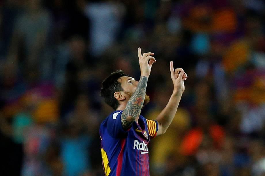 Messi comemora após marcar gol contra o Real Madrid