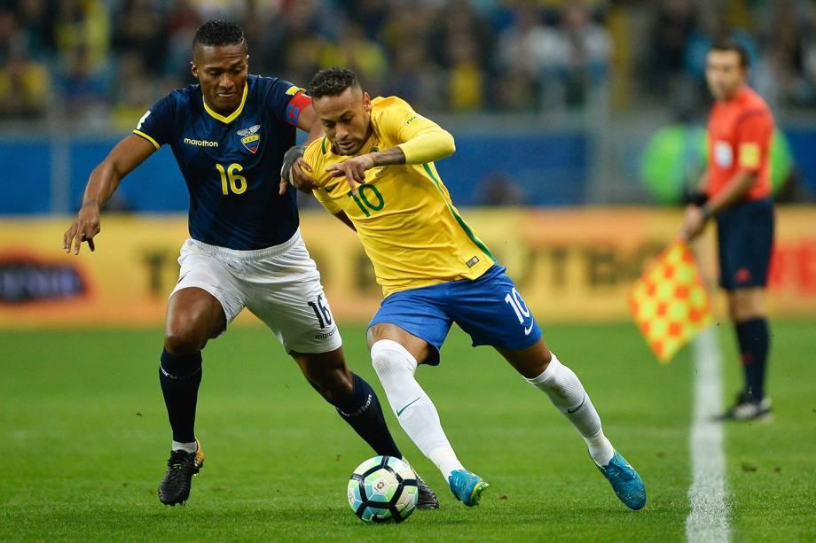 Neymar durante a partida entre Brasil e Equador, na Arena do Grêmio em Porto Alegre