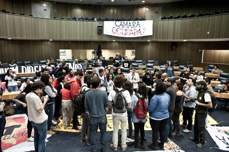 Estudantes se reúnem durante a ocupação da Câmara Municipal de São Paulo nesta quinta-feira - 10/08/2017