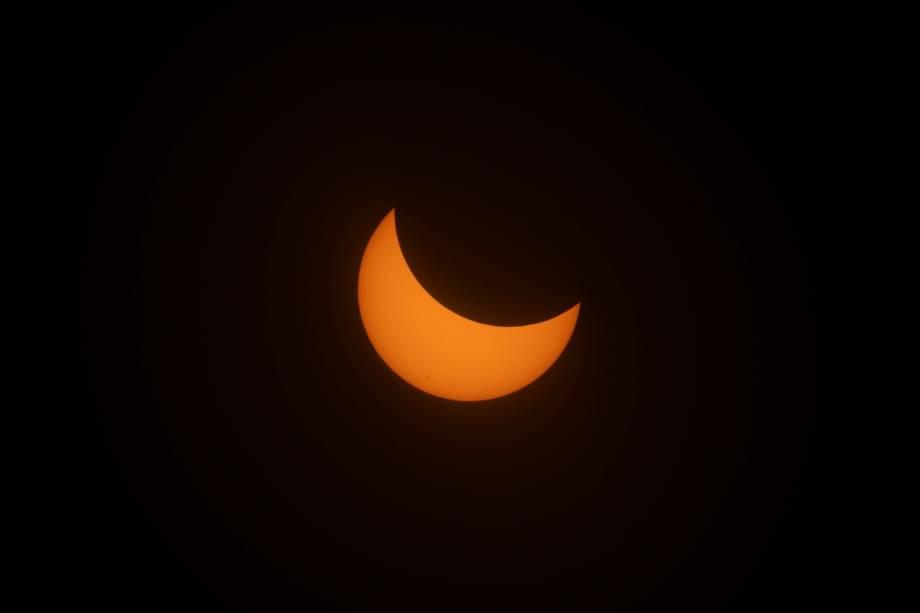 Eclipse solar em Depoe Bay, no estado americano do Oregon - 21/08/2017