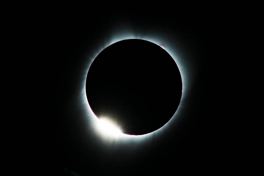 Eclipse solar visto no Lowell Observatory da cidade de Madras, em Oregón, nos Estados Unidos - 21/08/2017