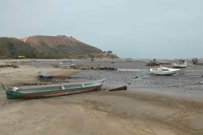 Recuo do mar em Caraguatatuba
