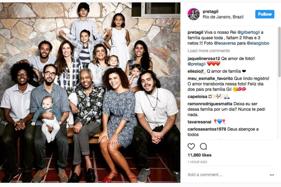 Preta Gil posta foto com a família reunida junto com seu pai Gilberto Gil