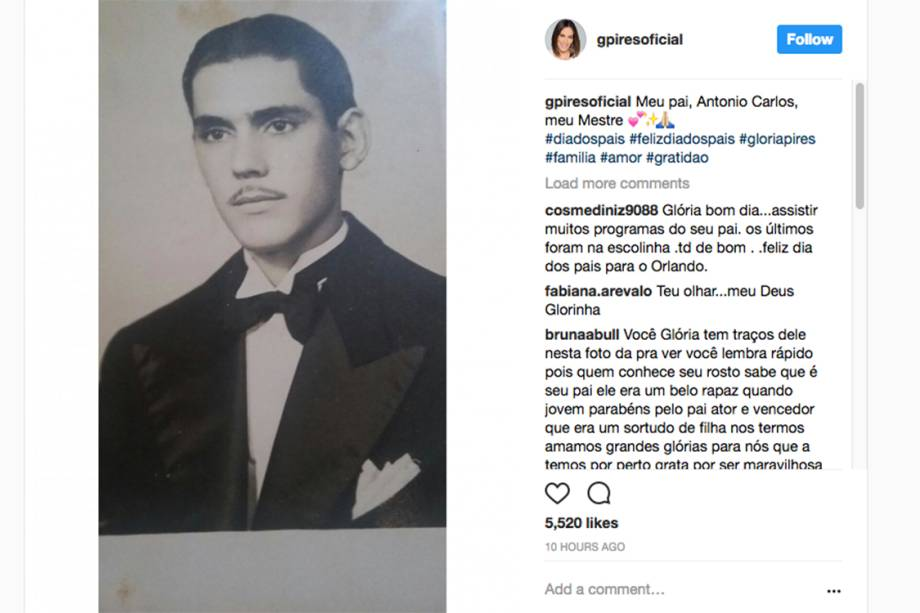 A atriz Glória Pires homenageia seu pai, no Dia dos Pais