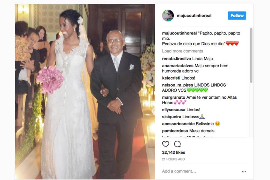 A jornalista Maju Coutinho homenageia seu pai, no Dia dos Pais