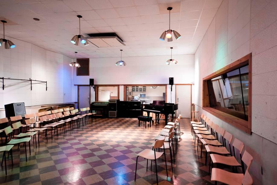 Sala de gravação do Studio B, da RCA. Foi neste estúdio em que Elvis gravou 56 sucessos de sua carreira, incluindo 'It's Now or Never'