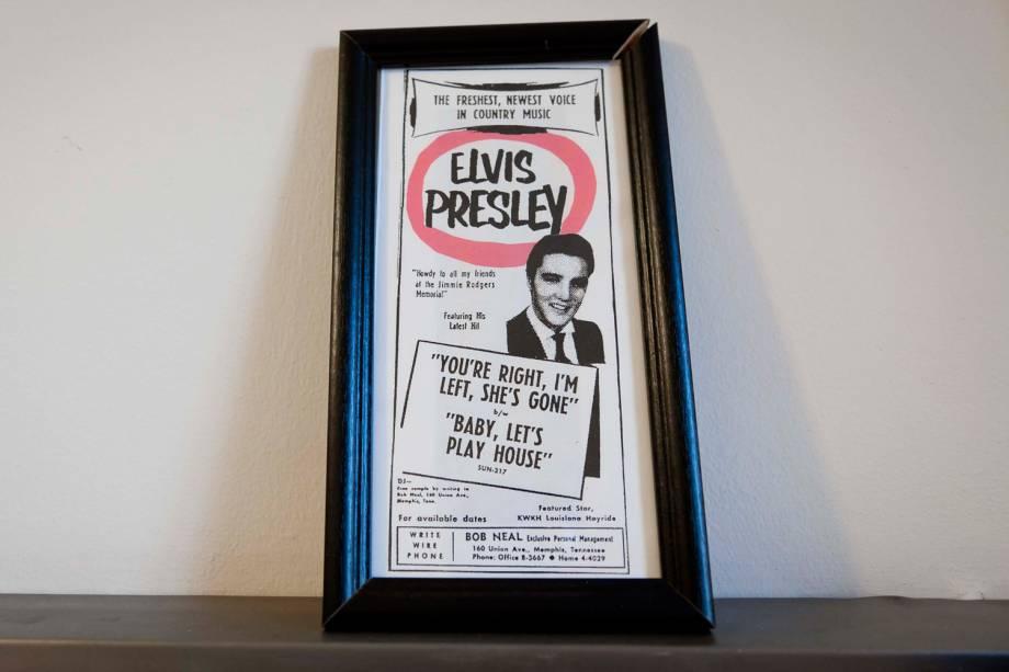Cartaz no antigo camarim ocupado por Elvis Presley, no Municipal Auditorium de Shreveport