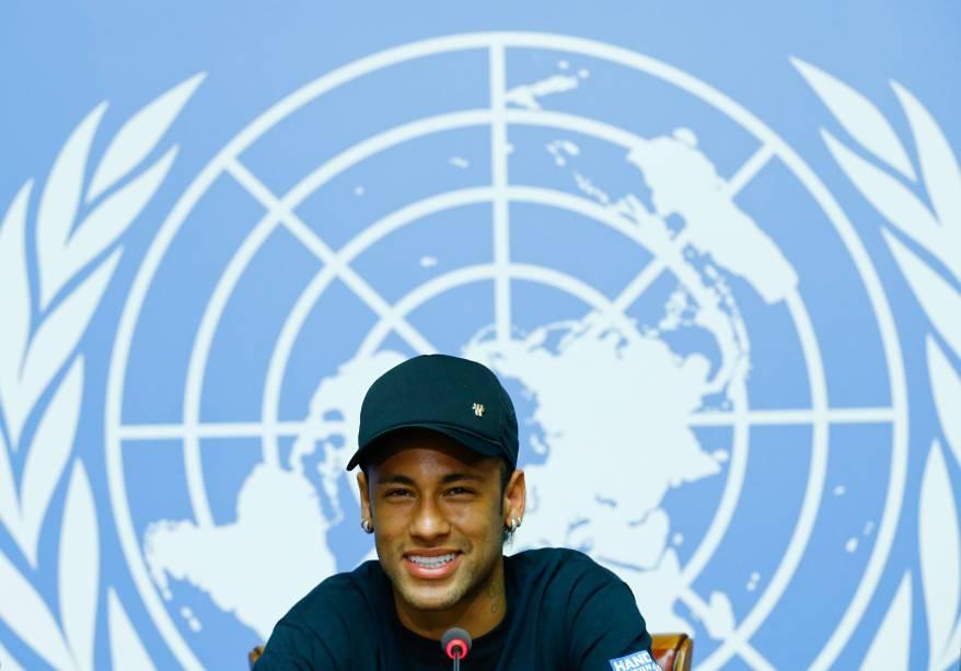 Neymar participa de uma coletiva de imprensa nas Nações Unidas em Genebra, na Suíça, durante sua apresentação como embaixador da boa vontade - 15/08/2017