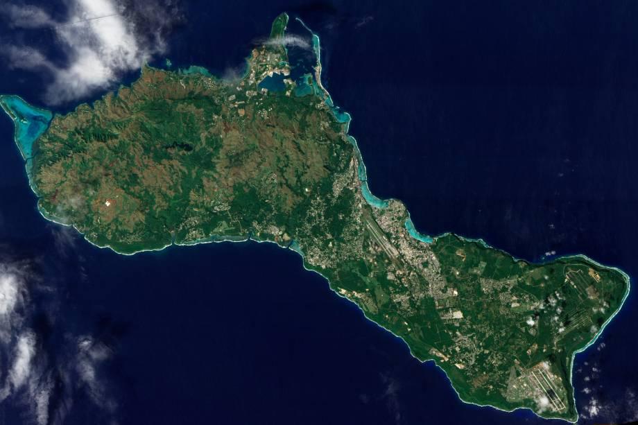 Imagem de satélite da Ilha de Guam no Pacífico