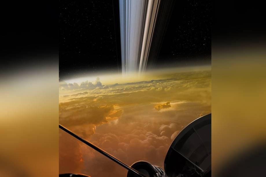 Ilustração que simula como seria a chegada de Cassini em Saturno, pouco antes da nave mergulhar no interior do gigante gasoso.