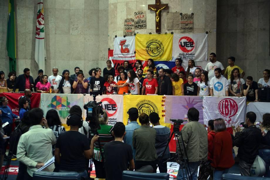 Estudantes secundaristas e universitários ocupam a Câmara Municipal de São Paulo em protesto contra as restrições do Passe Livre Estudantil e o pacote de privatizações do Prefeito João Dória - 10/08/2017