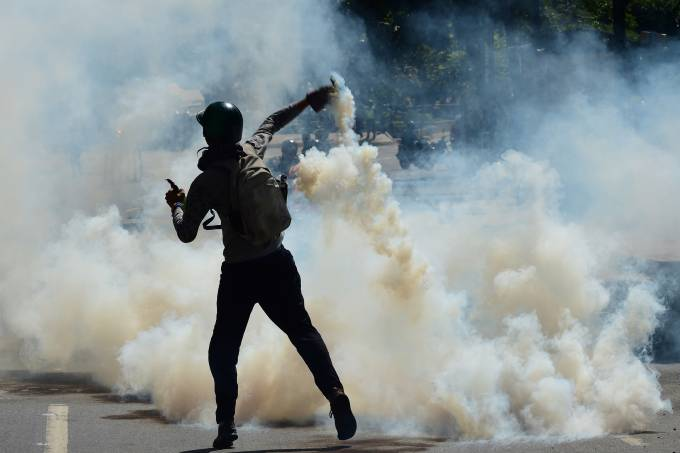 Protesto em Caracas na Venezuela