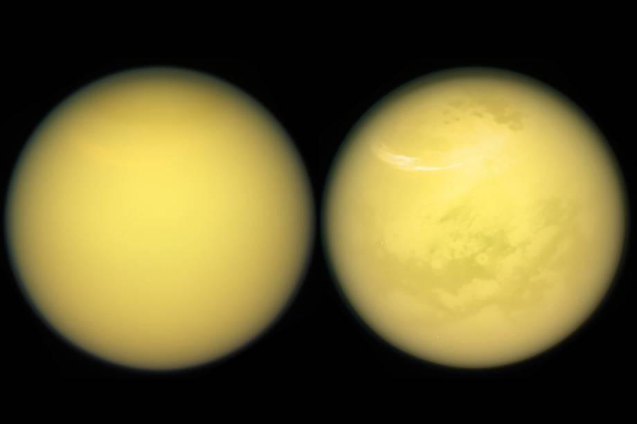 Detalhes de Titã, que mostram a superfície da lua, assim como as nuvens e a névoa presente na atmosfera do astro.