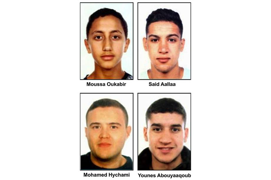 A polícia da Espanha liberou fotos de quatro suspeitos do atentado
