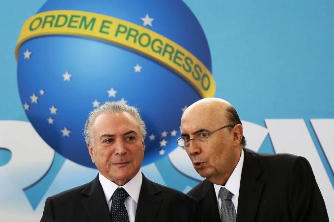 Michel Temer e o Ministro da Fazenda, Henrique Meirelles