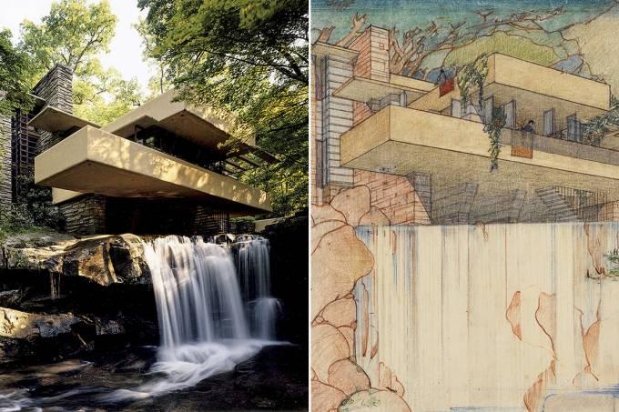 Aconchego místico – A soberba Casa da Cascata, ao lado de sua concepção em desenho: uma perfeita união entre arquitetura e natureza