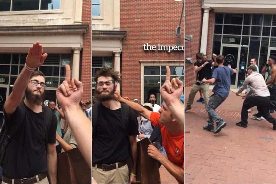 Série de imagens mostra supremacista branco fazendo sinal em alusão ao nazismo e sendo agredido momentos depois por opositores