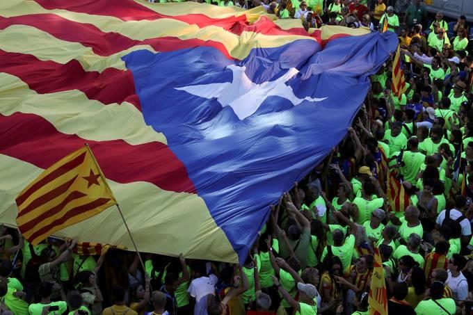 Protesto separatista em Barcelona, na Espanha