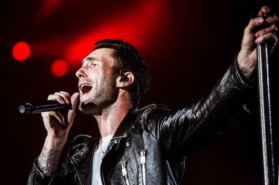A banda Maroon 5, liderada por Adam Levine no Palco Mundo durante o segundo dia de Rock in Rio - 16/09/2017