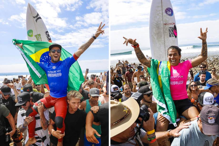 Filipe Toledo e Silvana Lima vencem a etapa de Trestles da Liga Mundial de Surfe