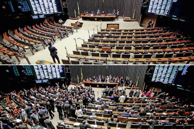 Cenários – Na terça, plenário vazio para a leitura da denúncia contra Temer; no dia seguinte, plenário cheio: 1,6 bilhão de reais