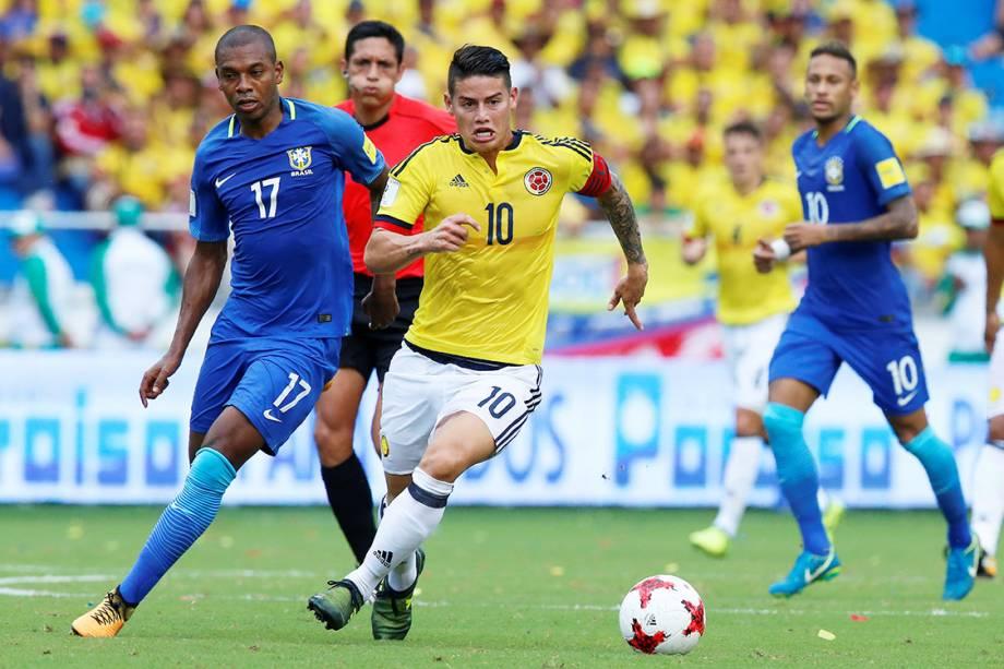 James Rodriguez, da Colômbia, durante partida contra Brasil, pelas Eliminatórias da Copa da Rússia, em Barranquilla