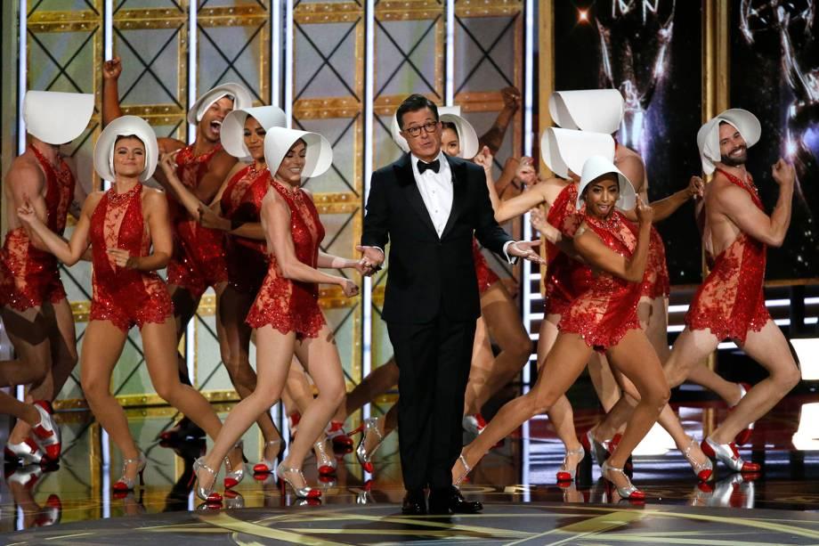 O apresentador Stephen Colbert durante a premiação do 69º premiação Emmy Awards, em Los Angeles - 17/09/2017
