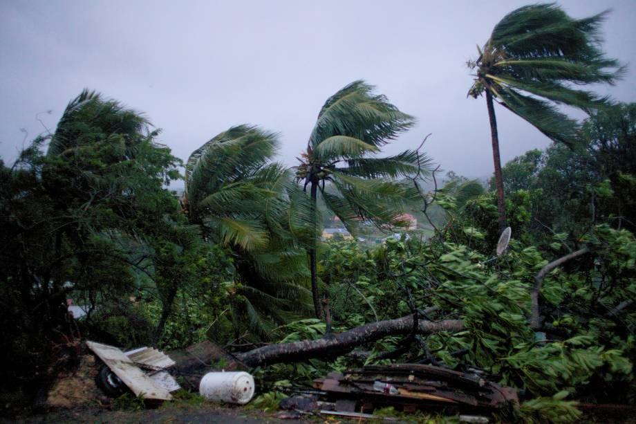 Rajadas de vento e fortes chuvas causadas pelo furacão Maria atingem a cidade de Petit-Bourg na ilha francesa do Caribe de Guadalupe. A tempestade chegou à categoria 5, considerada potencialmente catastrófica, e atingiu outras ilhas caribenhas como Dominica, em Porto Rico - 19/09/2017
