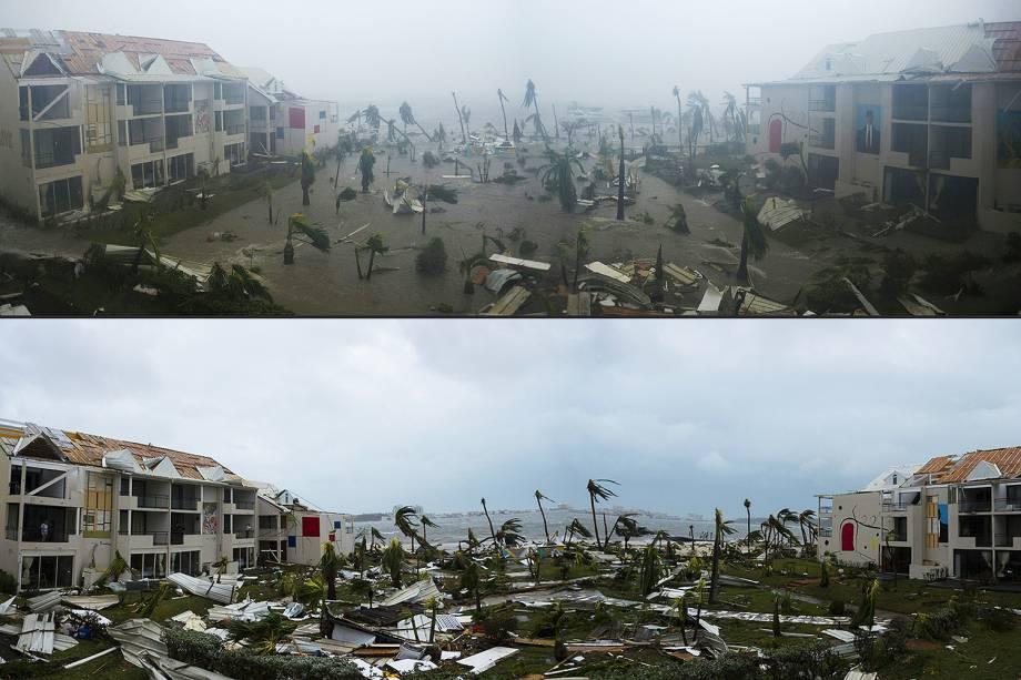 Combinação de imagens dos dias 06 e o7 de setembro, mostra hotel destruído após passagem do furacão Irma pela Ilha de Saint Martin, no Caribe - 07/06/2017