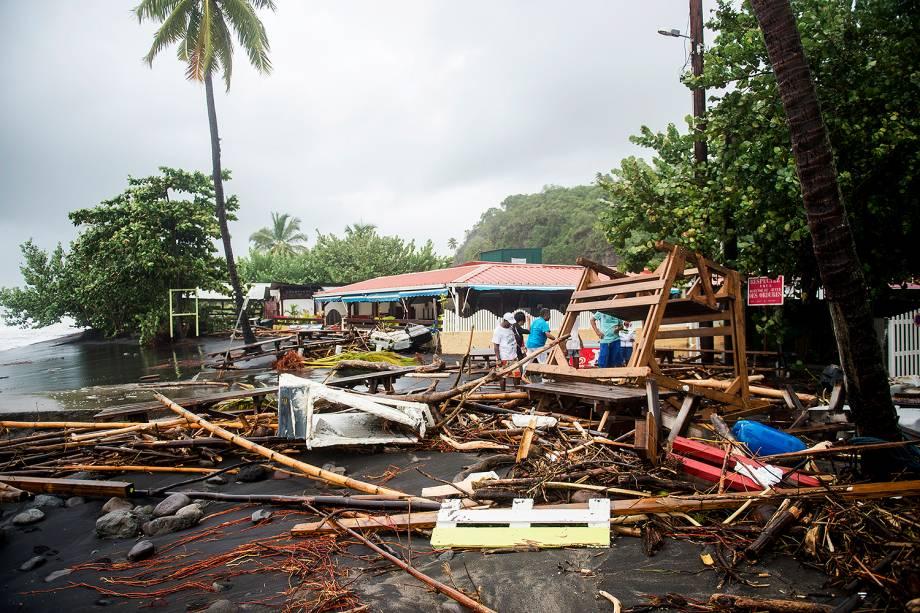 Furacão Maria atinge a Martinica na ilha francesa do Caribe. A tempestade chegou à categoria 5, considerada potencialmente catastrófica, e atingiu outras ilhas caribenhas como Dominica, em Porto Rico - 19/09/2017