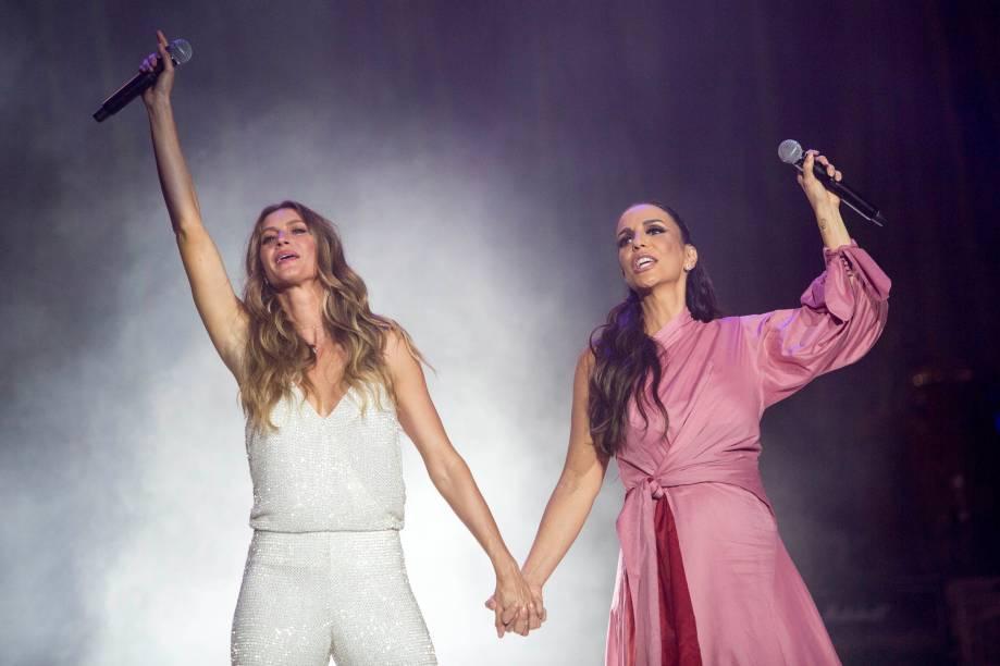 A modelo Gisele Bündchen, e a cantora Ivete Sangalo, no primeiro dia do Rock in Rio - 15/09/2017