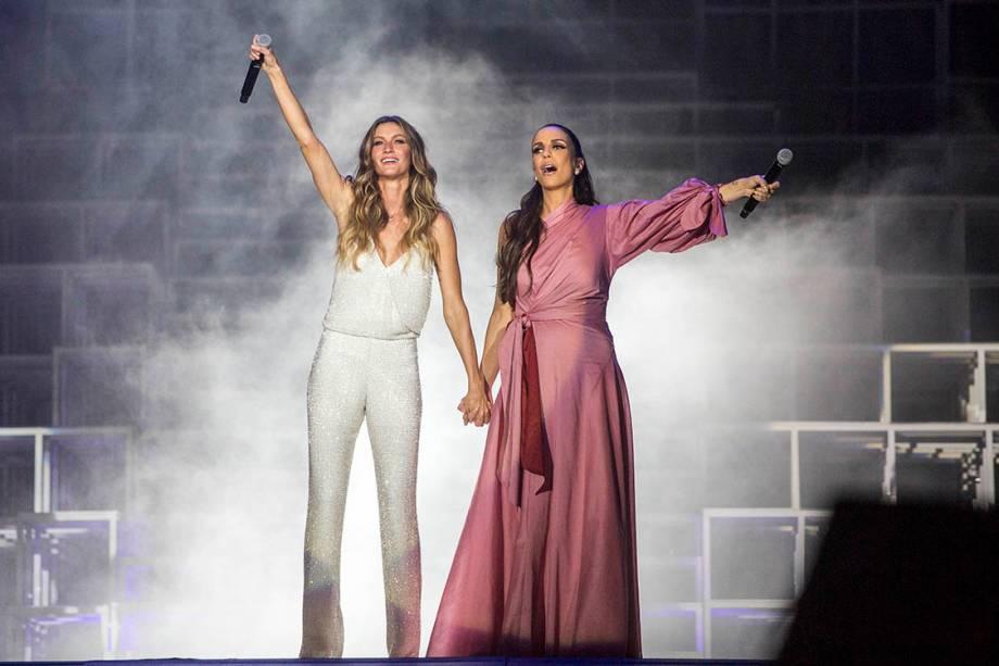 A modelo Gisele Bündchen e a cantora Ivete Sangalo o primeiro dia de Rock in Rio