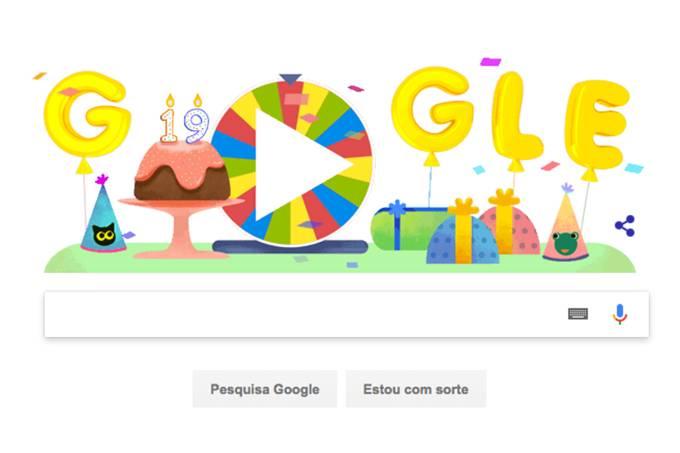 Roda de surpresas de aniversário do Google