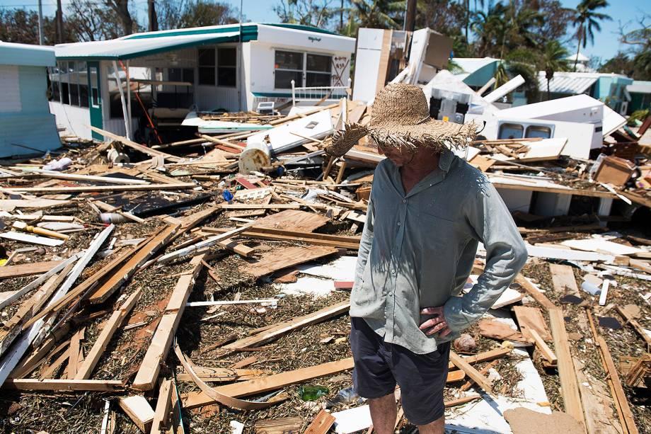 Casas danificadas após a passagem do furacão Irma pela região de Islamorada, na Flórida (EUA) - 12/09/2017