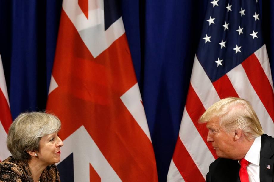 Presidente dos Estados Unidos, Donald Trump, e premiê da Inglaterra, Theresa May, durante Assembleia Geral, em Nova York - 20/09/2017