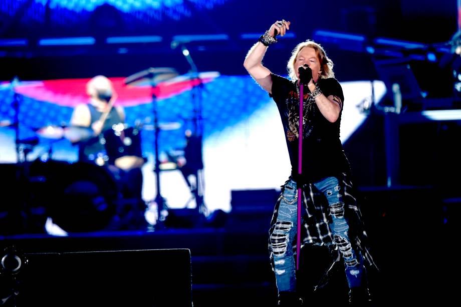 Axl Rose, vocalista da banda Guns'n'Roses, durante quarto dia do festival São Paulo Trip, no Allianz Parque