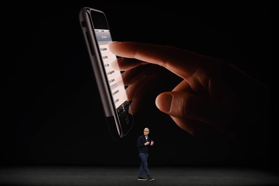 Tim Cook, CEO da Apple, durante lançamento dos novos produtos da marca em Cupertino, Califórnia - 12/09/2017