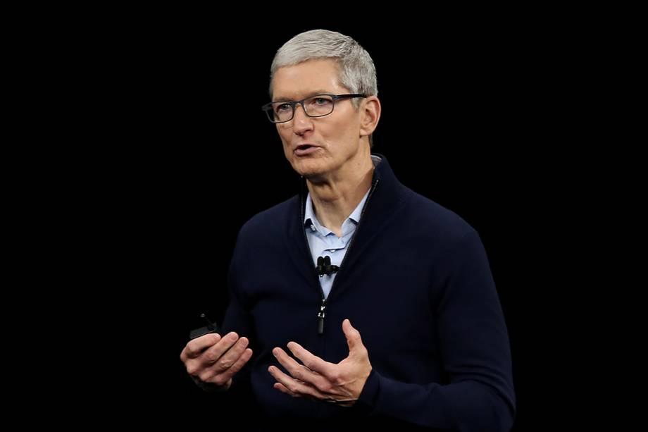 Tim Cook, CEO da Apple, durante lançamento dos novos produtos da marca em Cupertino, Califórnia