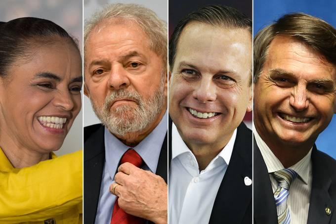 Marina Silva, Lula, Dória e Bolsonaro