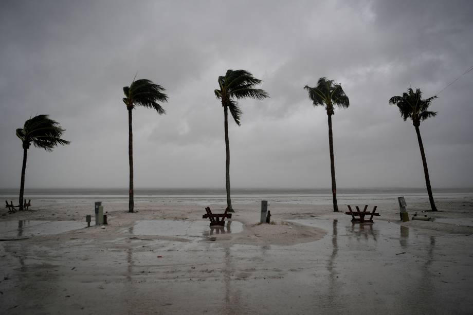 Palmeiras se balançam enquanto o vento sopra e a água se eleva com a aproximação do furacão Irma em Fort Myers Beach, na Flórida (EUA) - 10/09/2017