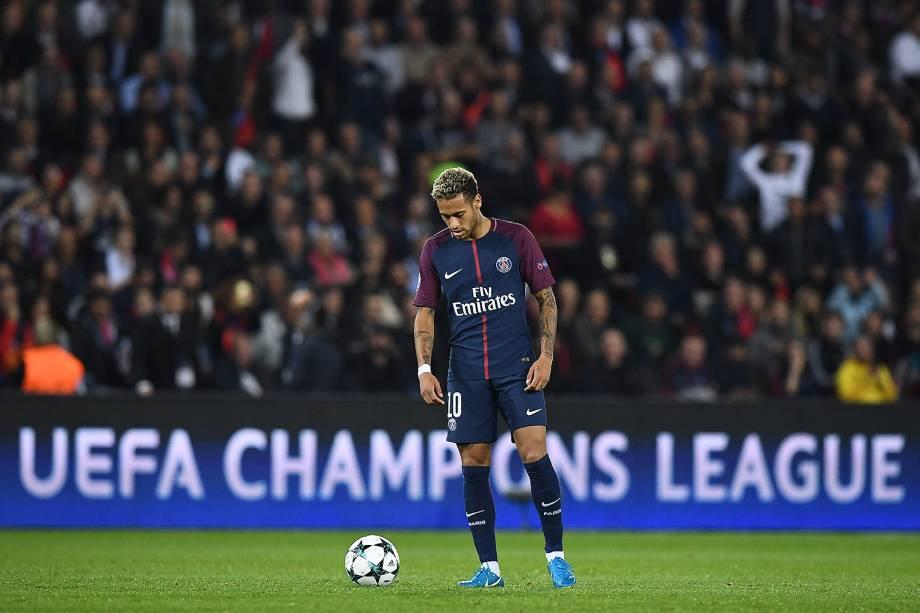 Neymar ,do PSG, durante partida contra o Bayern de Munique no estádio Parc des Princes, pela 2ª rodada da fase de grupos da Liga dos Campeões - 27/09/2017