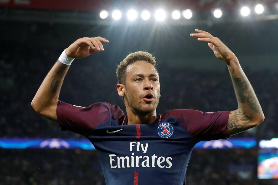 Neymar do PSG durante partida contra o Bayern de Munique no estádio Parc des Princes, pela 2ª rodada da fase de grupos da Liga dos Campeões - 27/09/2017