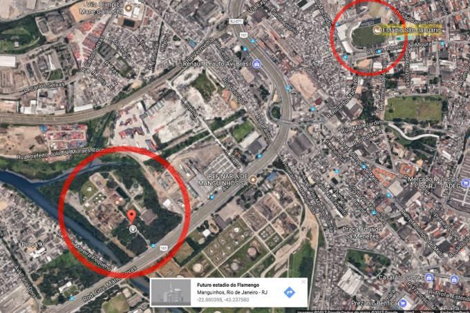 Google Maps descreve terreno como futuro estádio do Flamengo, próximo ao Estádio São Januário, em Manguinhos