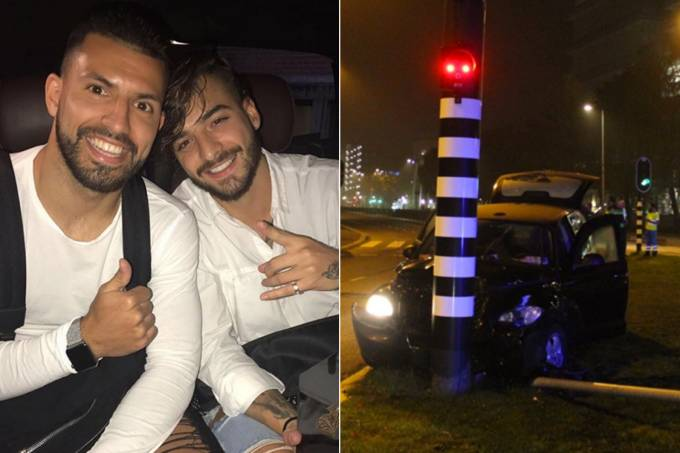 Agüero sofre acidente após sair de show do Maluma