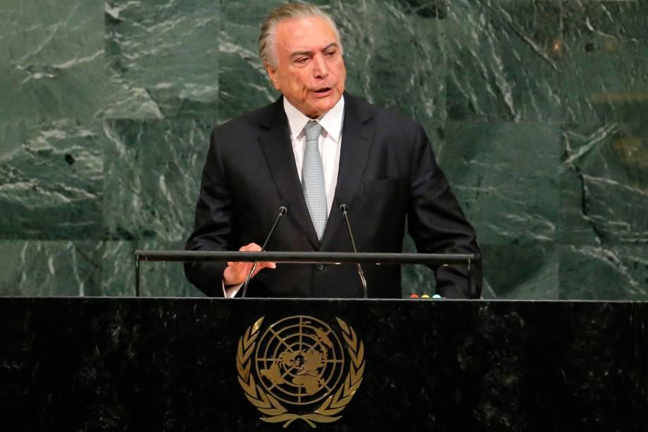 O presidente Michel Temer fala durante a 72ª Assembléia Geral das Nações Unidas na sede da ONU em Nova York - 19/09/2017