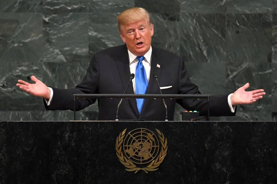 O presidente norte-americano, Donald Trump fala durante a 72ª Assembléia Geral das Nações Unidas na sede da ONU em Nova York - 19/09/2017