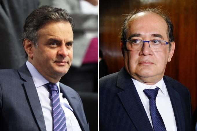 O senador Aécio Neves e o ministro do STF Gilmar Mendes