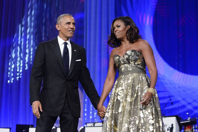 O presidente Barack Obama e a primeira-dama Michelle Obama, durante jantar de premiação anual da Fundação Congressional Black Caucus, em Washington – 17/09/2016