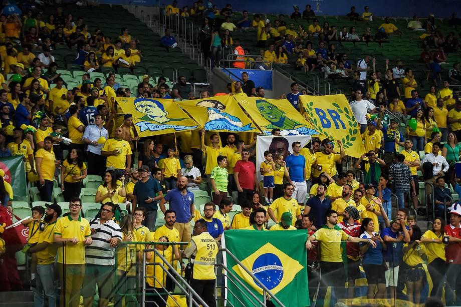 Torcedores antes da partida entre Brasil e Chile válida pelas Eliminatórias da Copa da Rússia no Allianz Parque, em São Paulo - 10/10/2017