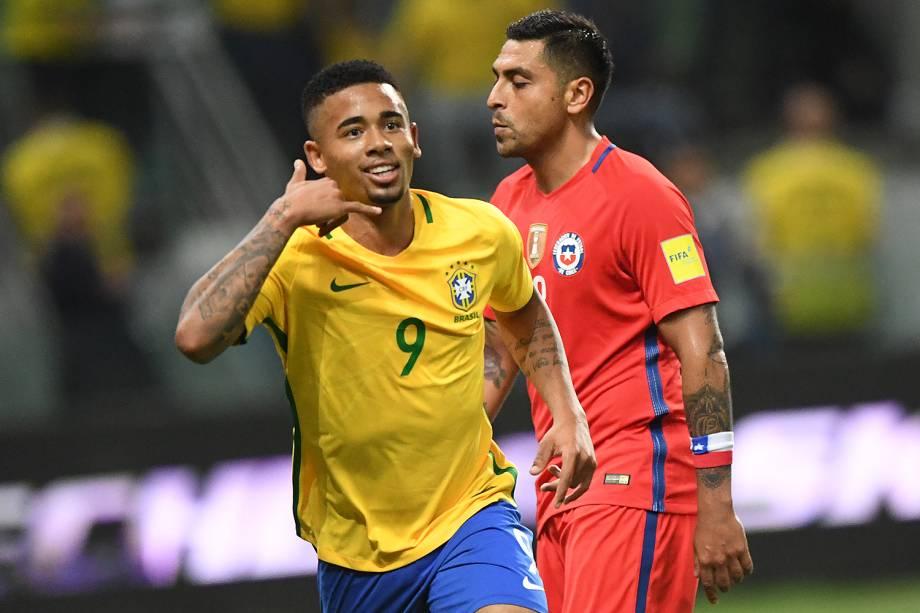 Gabriel Jesus comemora gol contra o Chile, pelas Eliminatórias da Copa da Rússia no Allianz Parque, em São Paulo - 10/10/2017